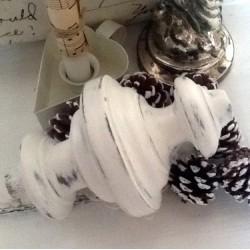 Toupie Patine Blanc Antique