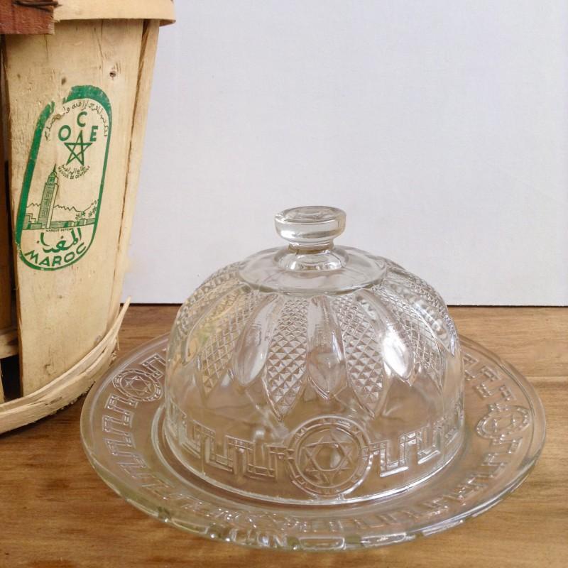 ancienne cloche fromage en verre et plateau au d cor toile de david. Black Bedroom Furniture Sets. Home Design Ideas