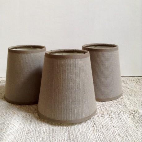 abat jour feston pour lustre ou applique en coton taupe et chocolat. Black Bedroom Furniture Sets. Home Design Ideas