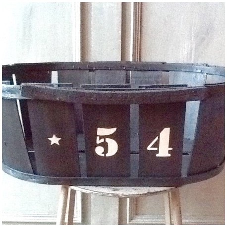 cageot cagette ancien de maraicher en bois patine noire pochoir lin. Black Bedroom Furniture Sets. Home Design Ideas