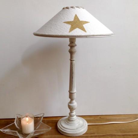 Lampe Zola patine Craie et son abat-jour constellation chanvre
