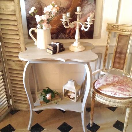 Table Console Ancienne En Bois Galbee De Style Louis Xvi Patine Grise