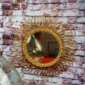 Miroir Soleil en rotin Vintage 1960-1970