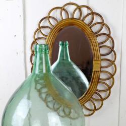 Miroir Soleil fleur Vintage en Rotin 1960
