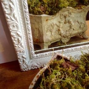 Vieux Miroir au Mercure Patiné Blanc