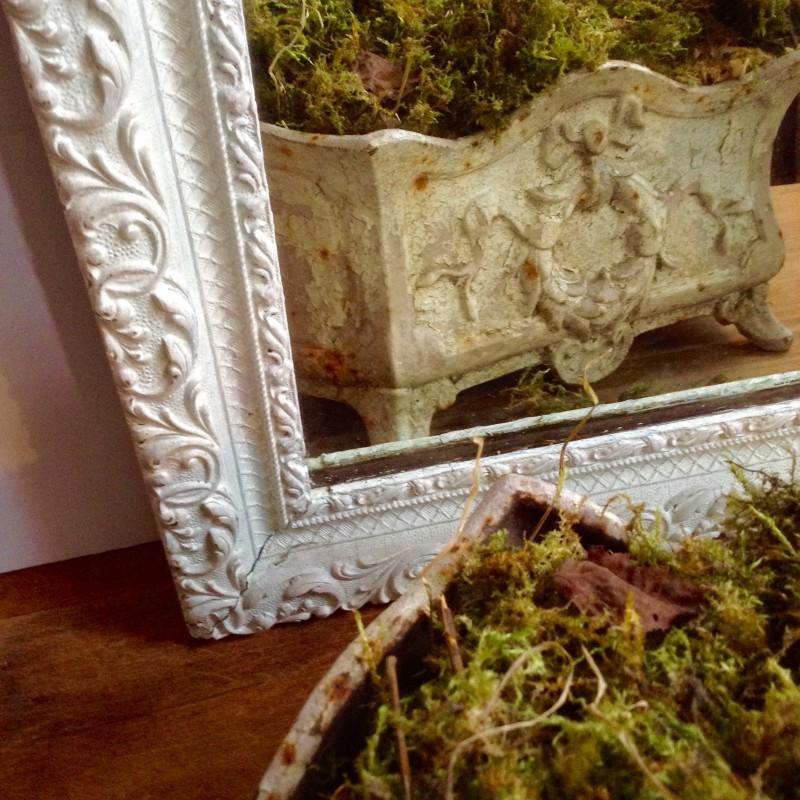 Cadre miroir au mercure patin blanc poque d but 20 me for Miroir au mercure