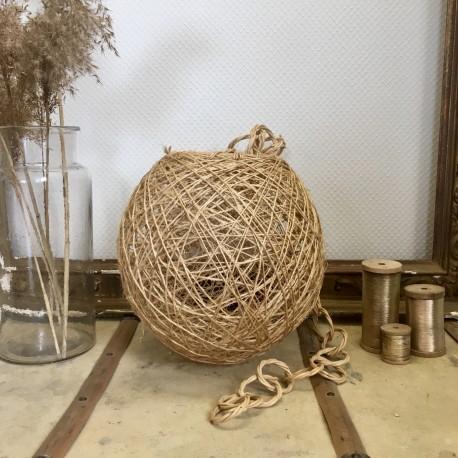 Suspension Boule Rotin et Ficelle