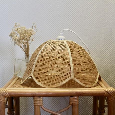 Suspension Fleur Rotin Vintage