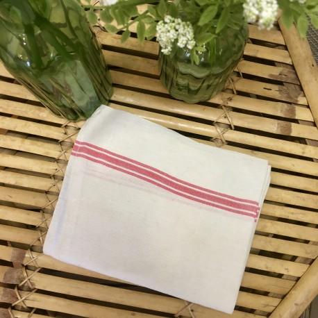Torchon ancien en coton blanc avec rayures rouges tiquette 3 suisses - Les trois suisses meubles ...