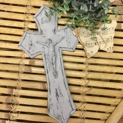 Crucifix Patiné Gris Poudré