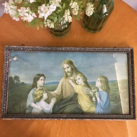 Tableau Chromo Jesus Christ Cadre Fin XIXème