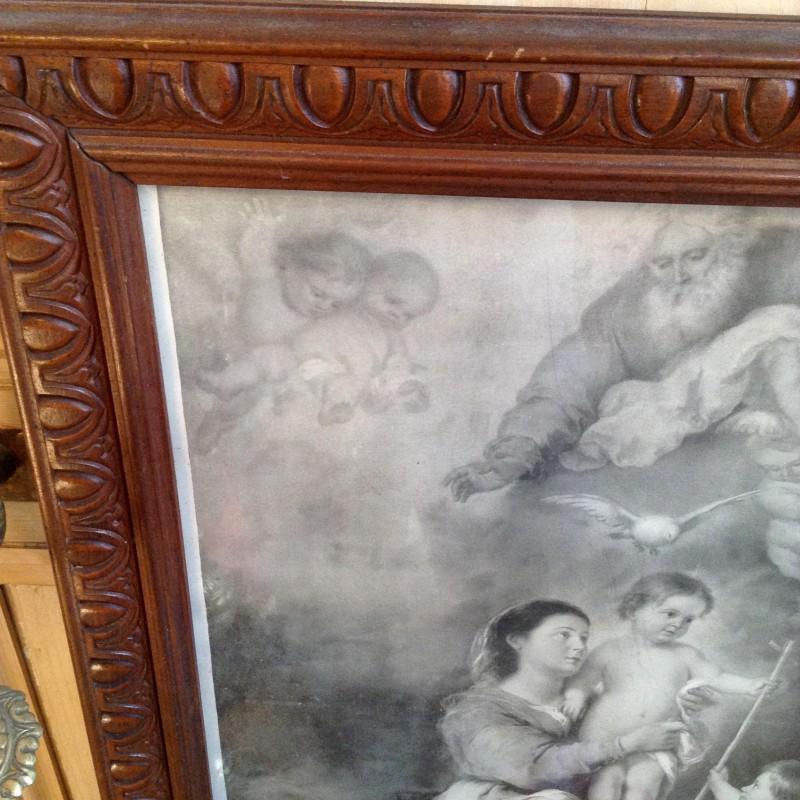 grand cadre ancien en bois sculpt avec gravure religieuse. Black Bedroom Furniture Sets. Home Design Ideas