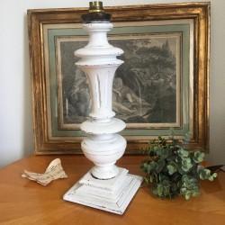 Pied de Lampe Balustre Blanc