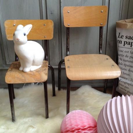chaise d 39 ecole en bois pour enfant style vintage. Black Bedroom Furniture Sets. Home Design Ideas