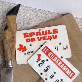 Etiquette de Boucherie-Charcuterie en francs