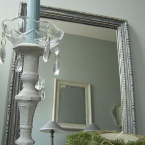 Miroir Ancien Patine Gris Gustavien