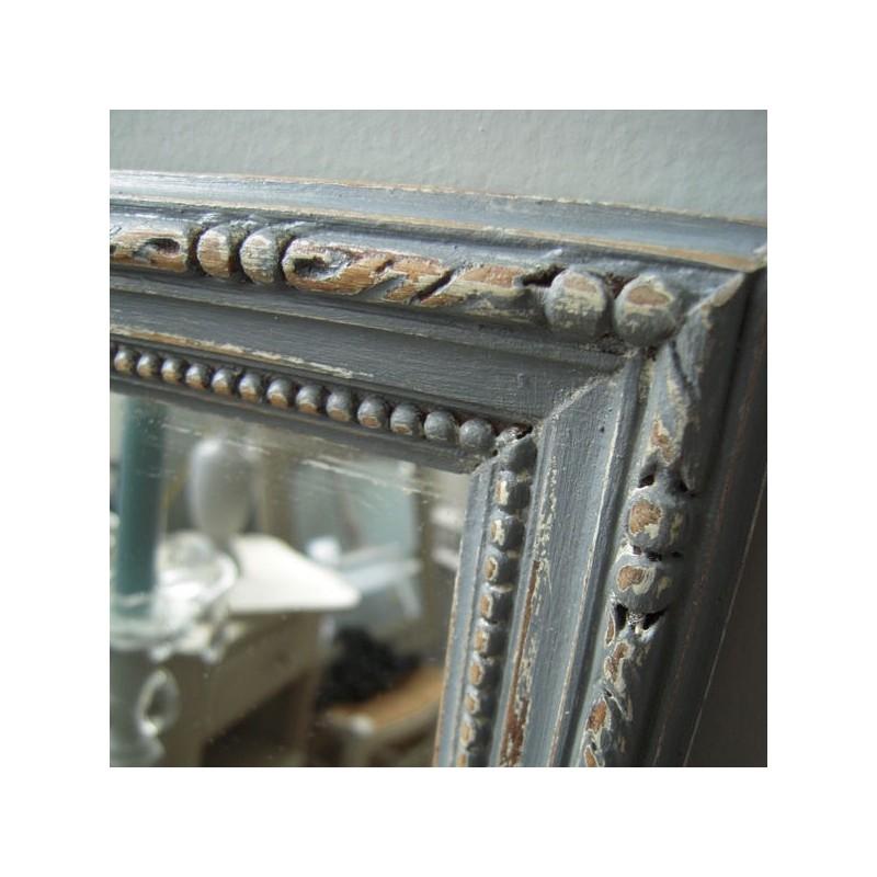 Miroir cadre moulure ancien patine gris gustavien poque 19 me for Miroir cadre