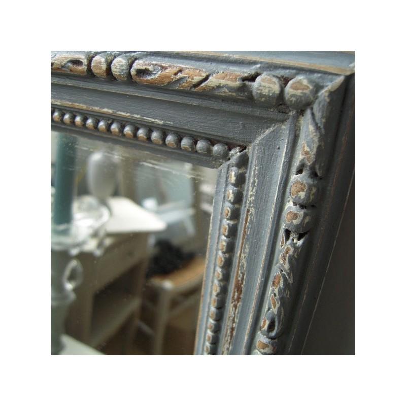 miroir cadre moulure ancien patine gris gustavien époque 19ème