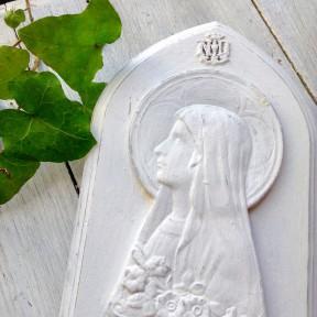 Médaillon de la Vierge Marie Patiné Blanc