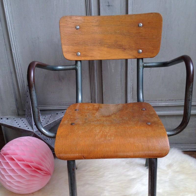 fauteuil ma tre d 39 cole vintage ann es 50 60 en bois naturel et m tal. Black Bedroom Furniture Sets. Home Design Ideas