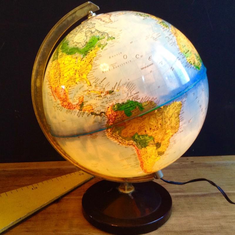 globe terrestre mappemonde lumineux le electrique vintage 60 70 s