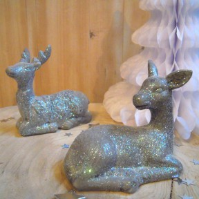 Lot de Figurines Cerfs Brillan Argenté