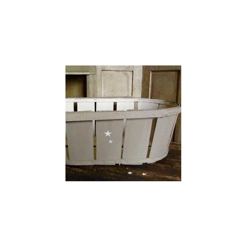 cageot cagette ancien de maraicher en bois patine taupe et lin. Black Bedroom Furniture Sets. Home Design Ideas