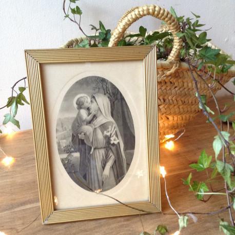 Gravure Ancienne de Marie et l'Enfant