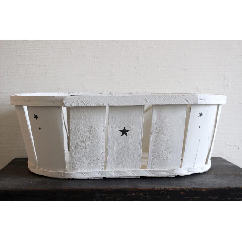 cageot cagette ancien de maraicher en bois patine blanche. Black Bedroom Furniture Sets. Home Design Ideas