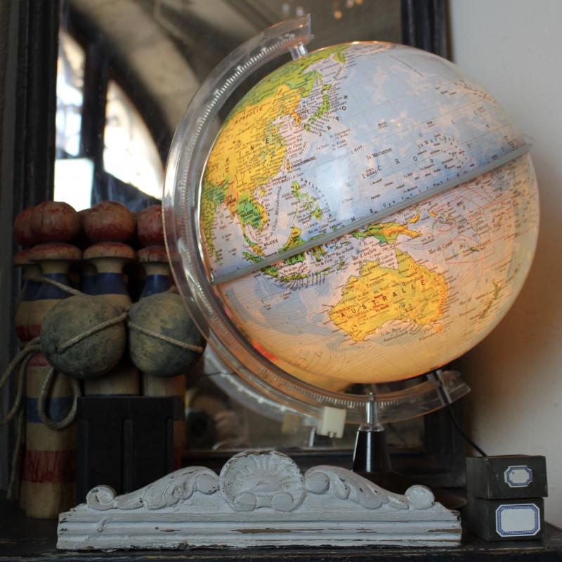 globe terrestre mappemonde lumineux lampe electrique vintage 60 70 s. Black Bedroom Furniture Sets. Home Design Ideas