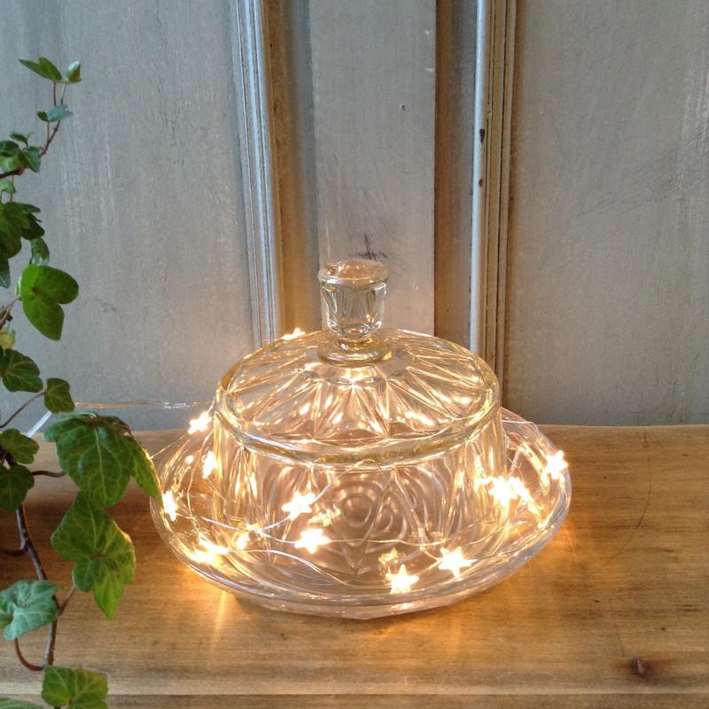 Cloche et assiette ancienne en verre moul teint e - Cloche en verre casa ...