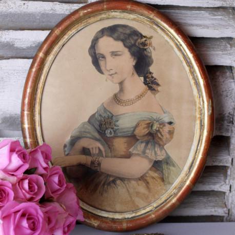 Gravure ancienne Portrait Femme