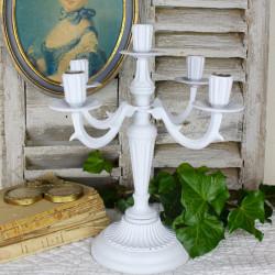Bougeoir Chandelier Patiné Blanc Antique