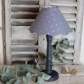 Lampe Zola Patine Craie et son Abat-jour Bleu Lin