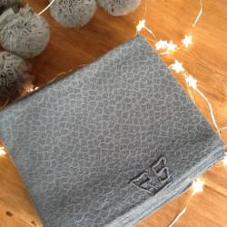 Lot de 6 serviettes anciennes monogramme et teintées Bleu Gris