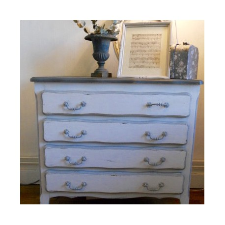 Commode style louis xv rocaille patin e blanc et gris avec 4 tiroirs - Commode style louis xv occasion ...