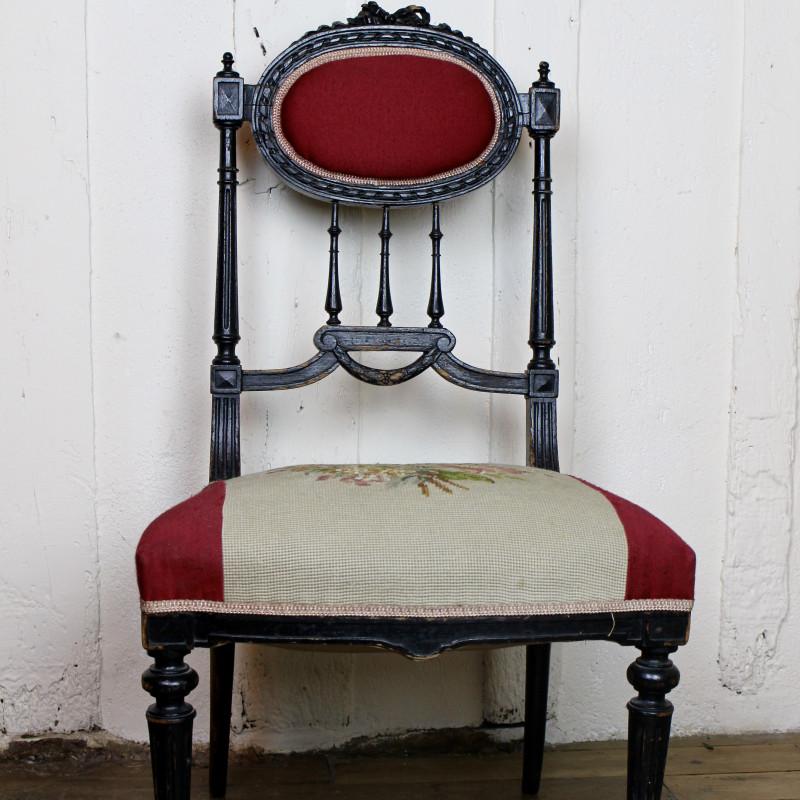 Chaise style louis xvi patine l 39 ancienne noir assise et dos cann - Chaise style louis xvi ...