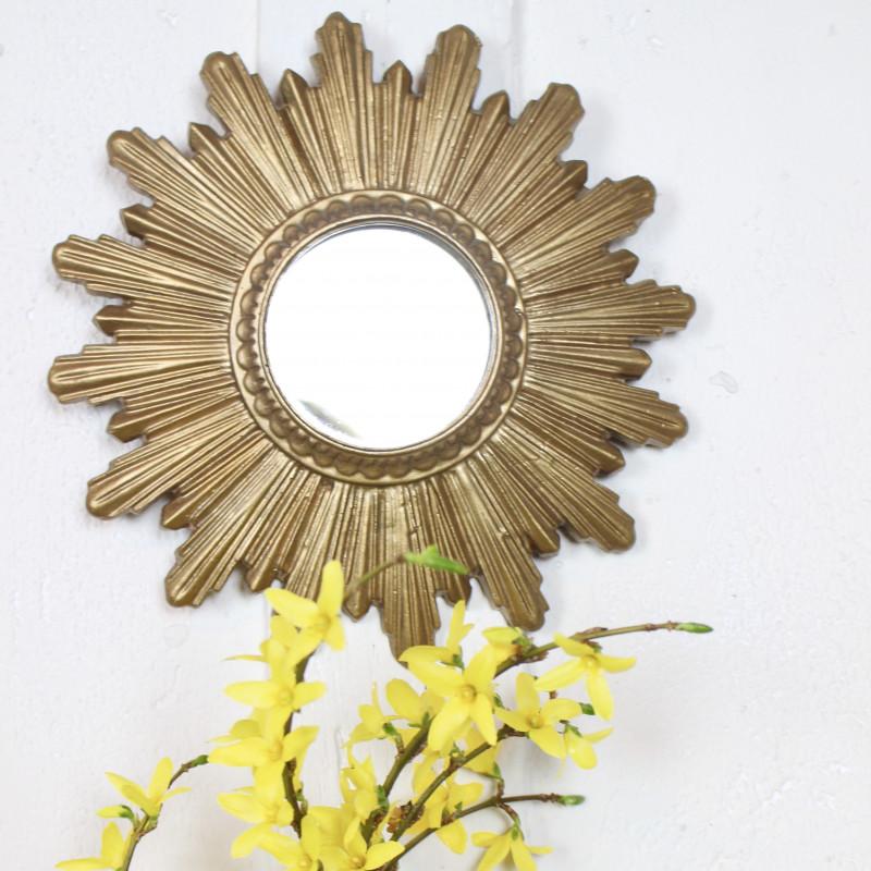 Miroir sorci re en r sine forme soleil vintage des ann es for Miroir soleil oeil sorciere
