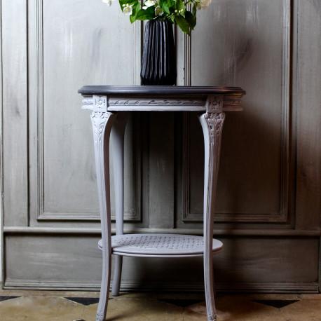 gueridon ancien style louis xvi patine gris clair plateau gris noir. Black Bedroom Furniture Sets. Home Design Ideas