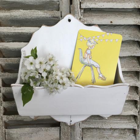 Range courrier lettre mural ancien en bois festonn patine blanche - Porte courrier mural ...
