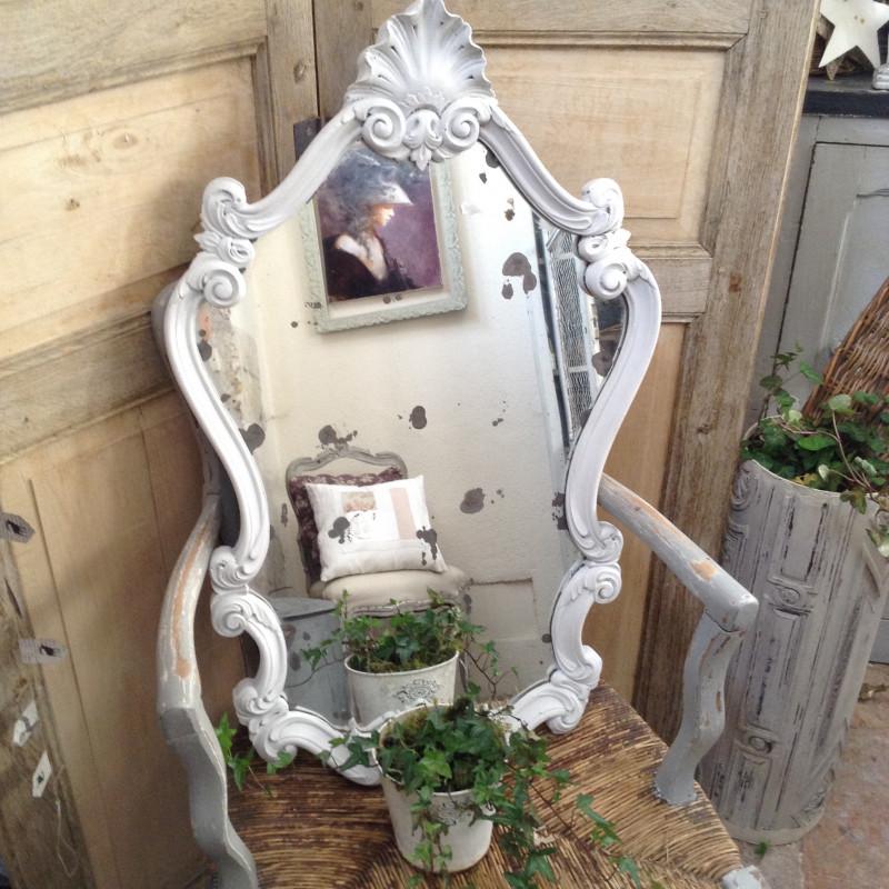 miroir ancien au mercure patine blanche style rocaille original et atypique. Black Bedroom Furniture Sets. Home Design Ideas