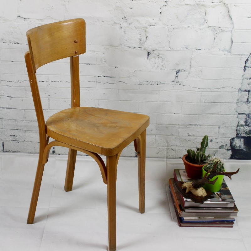 Chaise bistrot ancienne baumann thonet en bois clair for Chaise bistrot d occasion