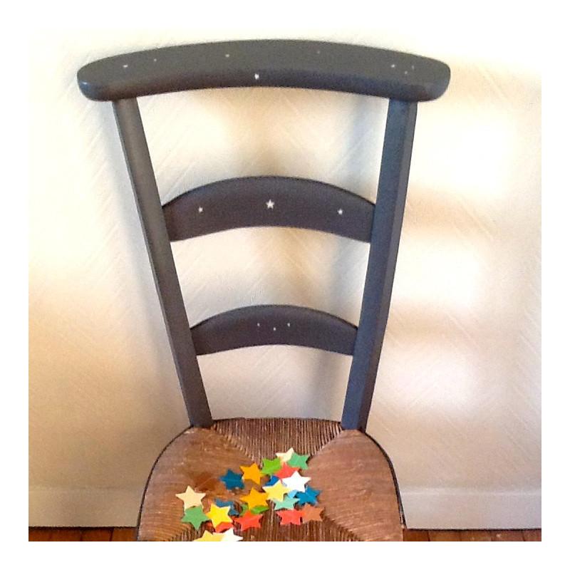 chaise prie dieu pain e gris noir etoiles au pochoir patine lin. Black Bedroom Furniture Sets. Home Design Ideas