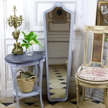 miroir ancien psych en bois et stuc patine grise style rocaille. Black Bedroom Furniture Sets. Home Design Ideas