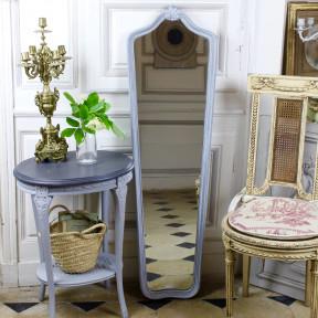 Miroir Psyché Patiné Gris Bleu Gustavien