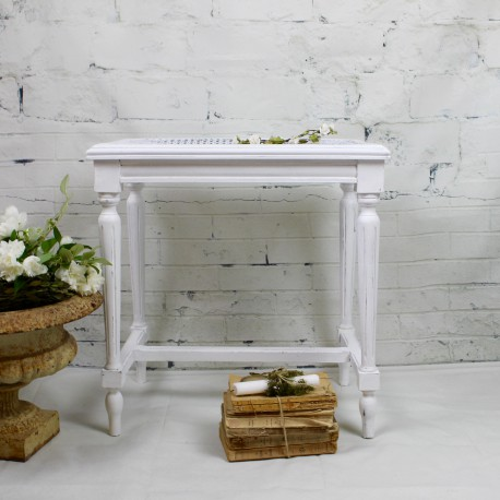 tabouret de piano ancien style louis xvi patine blanche assise cann e. Black Bedroom Furniture Sets. Home Design Ideas
