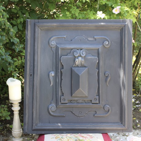 ancienne porte panneau boiserie buffet henri ii en bois patine noire. Black Bedroom Furniture Sets. Home Design Ideas