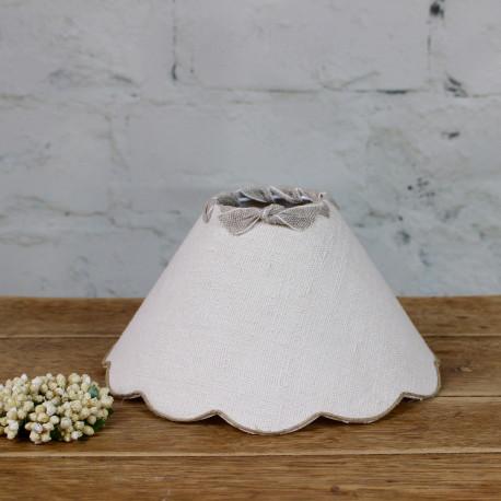 Abat Jour Ancien abat-jour à festons pour lampe en toile de chanvre blanc ancien t lin