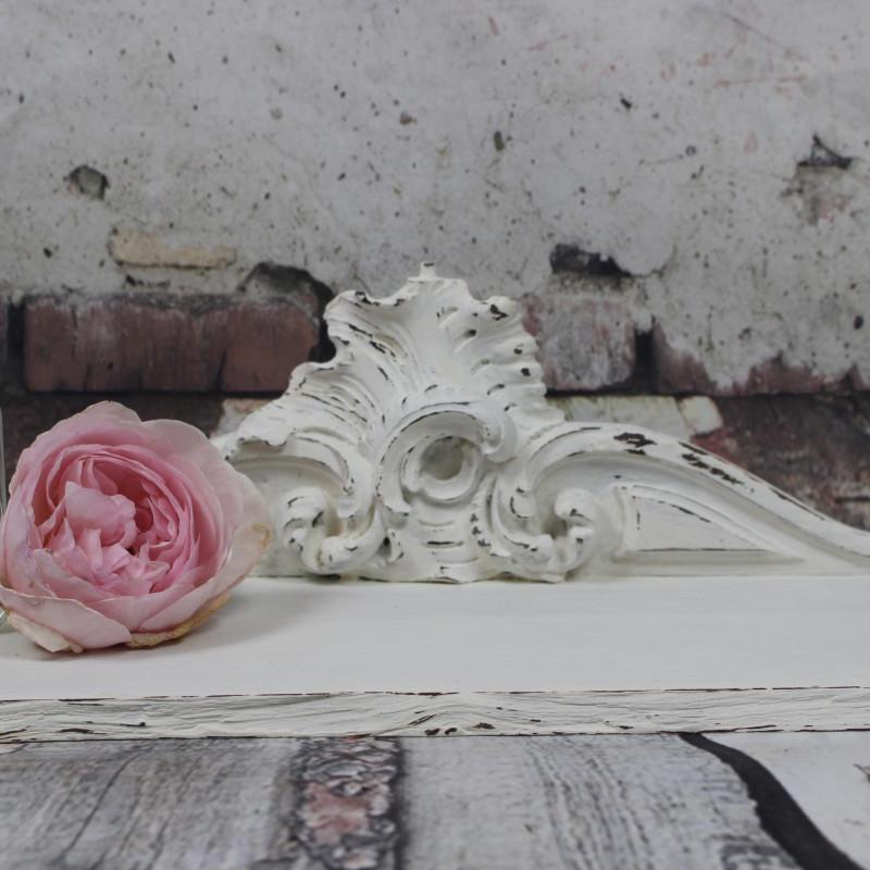 fronton etag re murale ancienne en bois patine blanche shabby chic. Black Bedroom Furniture Sets. Home Design Ideas