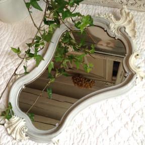 Miroir Style Louis XV Patine Grise et Blanc Gustavien